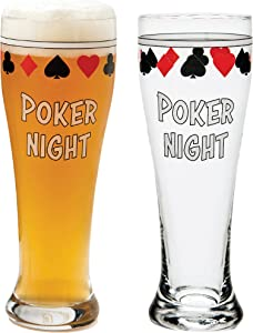 Bar Pint Glasses for Poker, Beer Gift Set of 2 Drinking Cups for Home Man Cave Card Games, Playing Card Suit Freezer Mugs 15oz, Texas Holdem Casino Accessories, Cool Stuff for Men