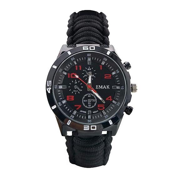 Moda Outdoor Survival Relojes para Hombre - Correa de Cuerda de Paracord Tejida Multifunción con Militares Brújula Termómetro Relojes de Pulsera para ...