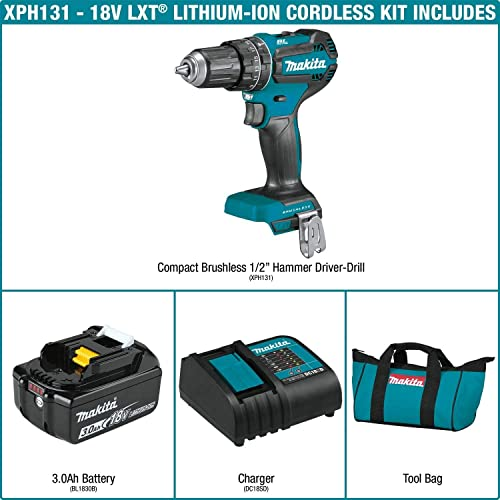 Makita XPH131 18V LXT Lithium-Ion Compact Brushless Cordless 1 2 Hammer Driver-Drill Kit 3.0Ah