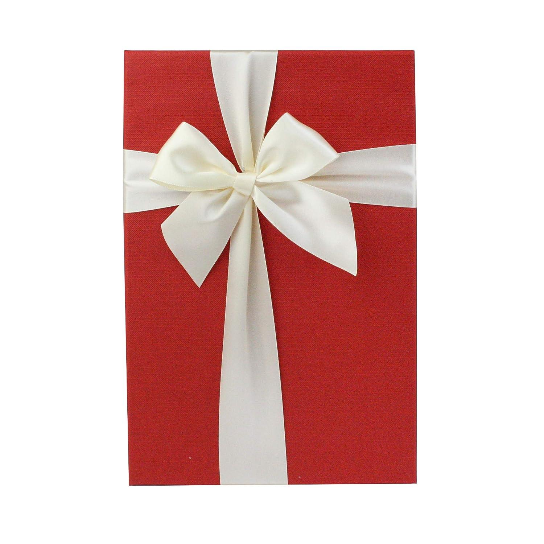 Emartbuy Ensemble de 2 Luxe Rigide Bo/îte-Cadeau de Pr/ésentation en Forme de Rectangle Int/érieur Brun Chocolat et Ruban D/écoratif Satin/é 31 x 21 x 15 cm Bo/îte de Couleur C/ème Avec Couvercle Rouge