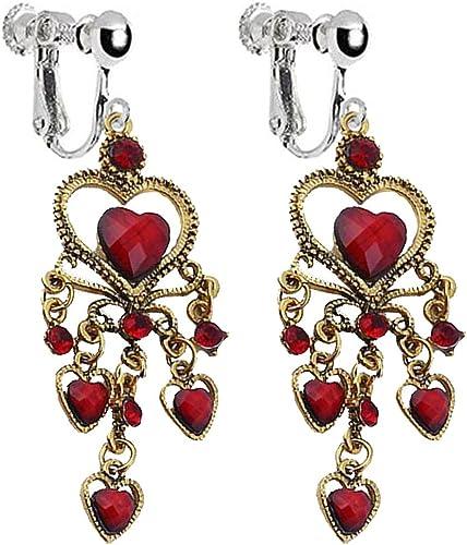 Lightweight Gold Long Dangly Four Heart Earrings Pierced or Clip-on Option