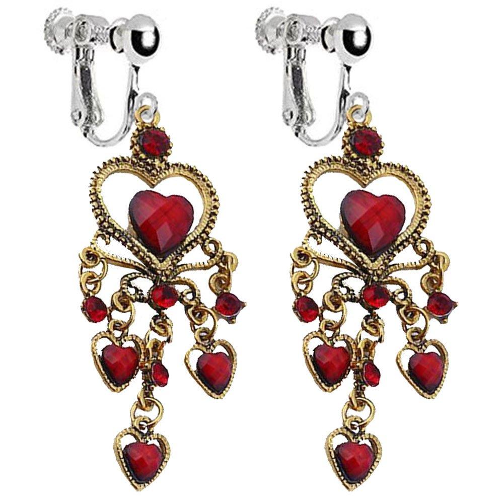NO pierce Hearts crystal RED Hearts Body chain