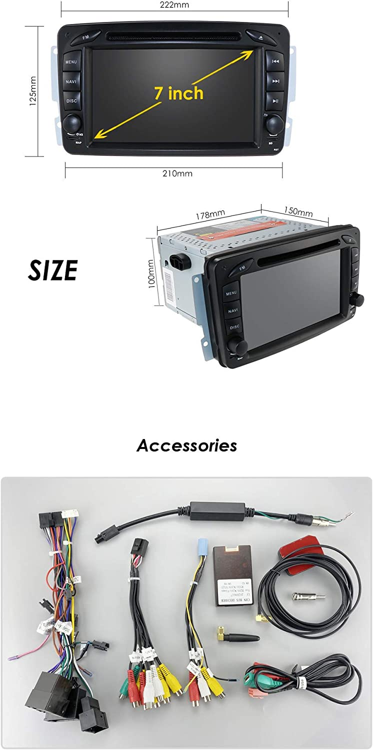 Android 10 Car Navigation for Mercedes Benz A-W168 C-W203 Viano//Vito Vaneo G-W463 CLK-C209//W209 7 Inch Touch Screen Support Radio Bluetooth Mirror-Link Steering Wheel Control