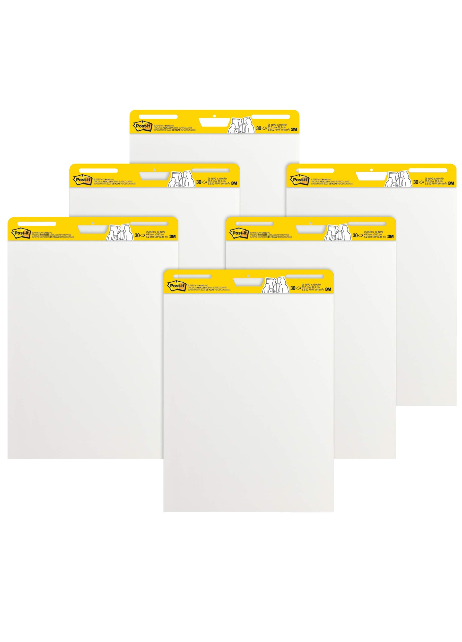 Post-it Super Sticky Easel Pad, 25 x 30 Inches, 30 Sheets/Pad, 6 Pads (559VAD6PK), Large White Premium Self Stick Flip Chart Paper, Super Sticking Power (Renewed) by Post-it (Image #1)