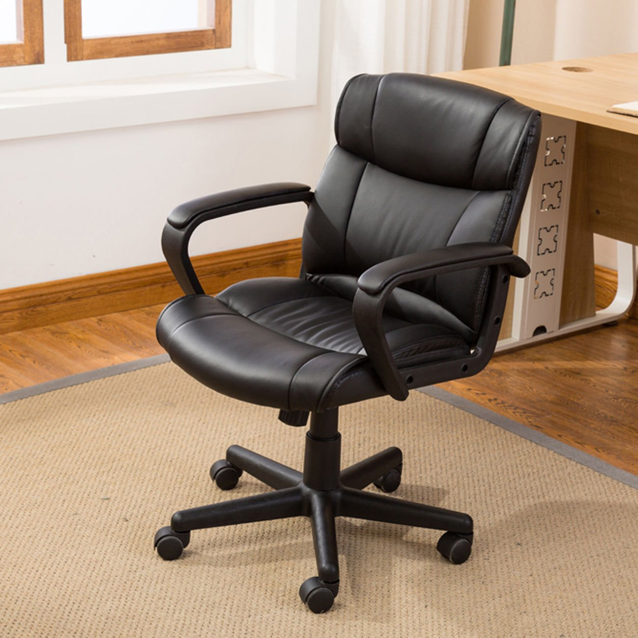 Mid-Back Ergonomic PU Leather Executive Computer Desk Task Office Chair Black