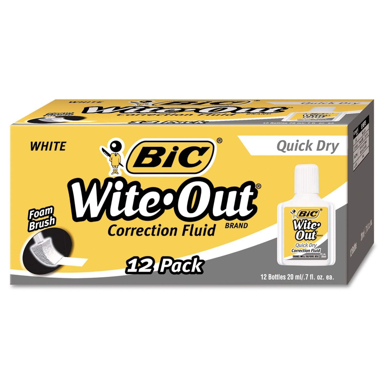 WOFQD12WE Wite-Out Quick Dry Correction Fluid, 20 ml Bottle, White, 1/Dozen, Pack of 5