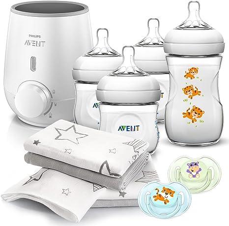 Philips AVENT Baby Premium Set Recien Nacido – 11 piezas: 1 calientabiberones rápido SFC355/00, 4 biberones con tetina Natural, 2 Chupetes clásico & 4 muselinas de algodón: Amazon.es: Bebé