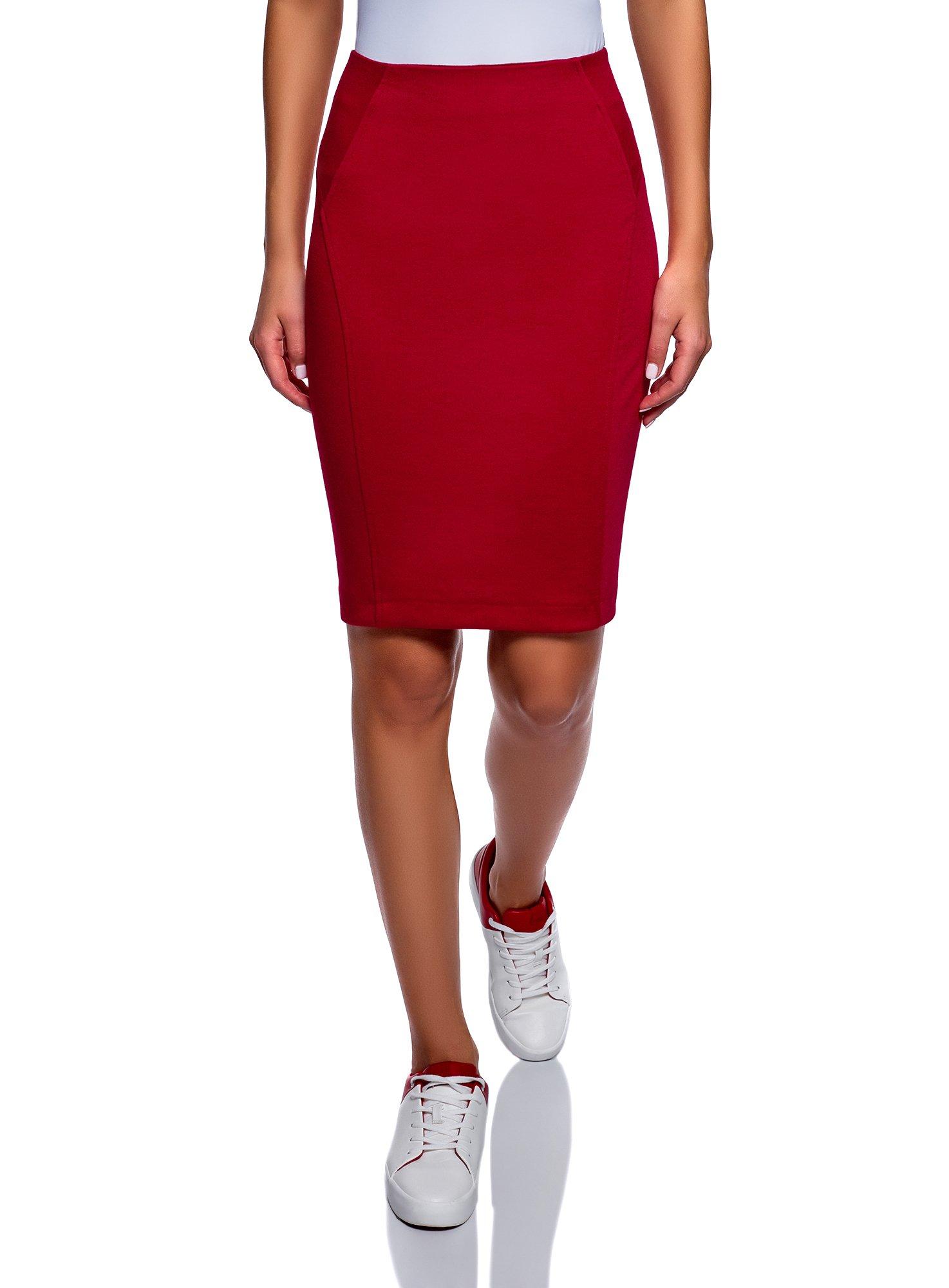 oodji Ultra Women's Jersey Pencil Skirt, Red, 6