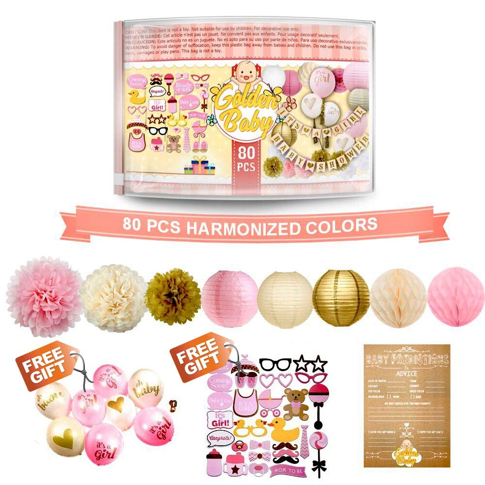 Baby Shower Decorations for Girl - 80PC Bundle Includes - Garland Bunting Banner Bonus+30PC Photo Booth Props Bonus+8PC Balloons Plus+E-Book Prediction Card and Decorations Set with in Ziplock Bag