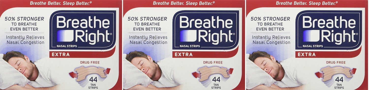 Breathe Right, Extra Strong Nasal Strips One Size Fits All 44 Count pnGmZ (Pack of 3)