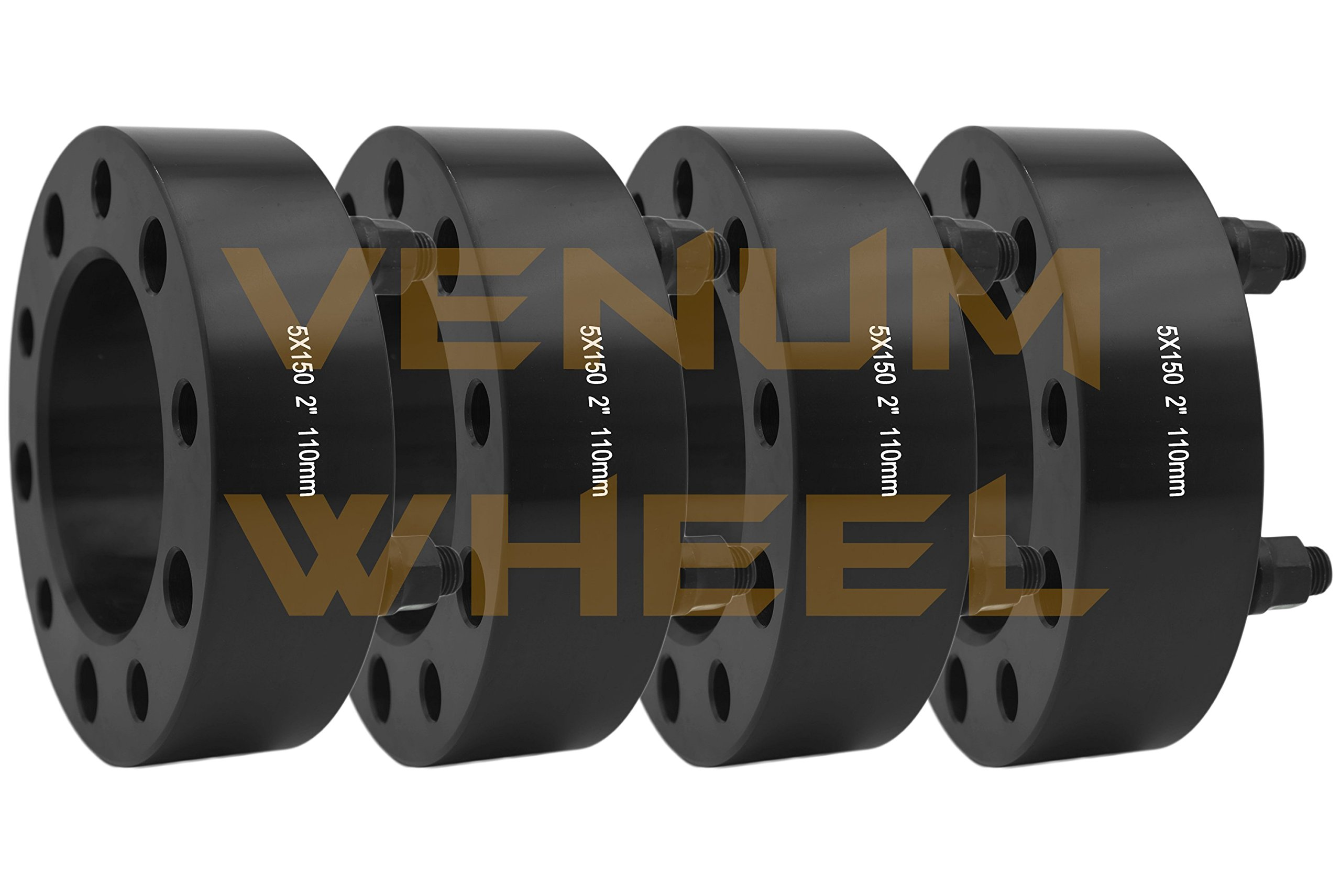 4 Pc 5x150 to 5x150 2'' Thick Black Hubcentric Wheel Spacers Adapter for Toyota Tundra 2007-2016 Hub Bore 110mm 14x1.5 Studs 6061 T6 Billet Aluminum (07-) Black by Venum wheel accessories (Image #1)