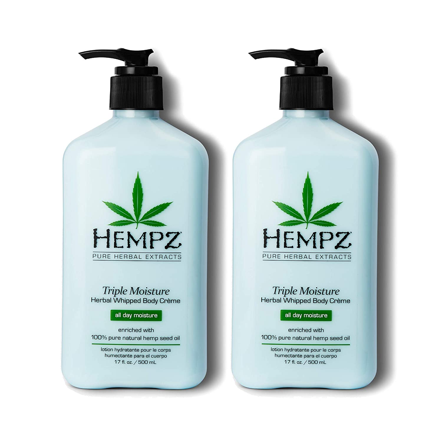 Hempz Natural Triple Moisture Herbal Whipped Body Cream with 100% Pure Hemp Seed Oil for 24-Hour Hydration - Moisturizing Vegan Skin Lotion with Yangu Oil, Peach and Grapefruit, 17oz, 2 Pack Bundle