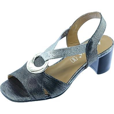 Angelina® JANISSE Sandale avec Anneau Métal Bride Élastiquée Talon Stable  Chaussures Femme Petite Pointure Marque 913331b0ba52