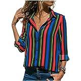 Women Blouses Floral Print Long Sleeve Turn Down Collar Blouse Ladies Shirts Striped Tunic Blusas Chemisier