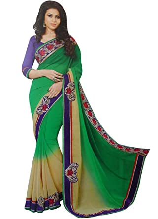 9d607b080e Designer Sari with Blouse Unstitched Embroidered Saree Georgette Indian  Costume: Amazon.co.uk: Clothing