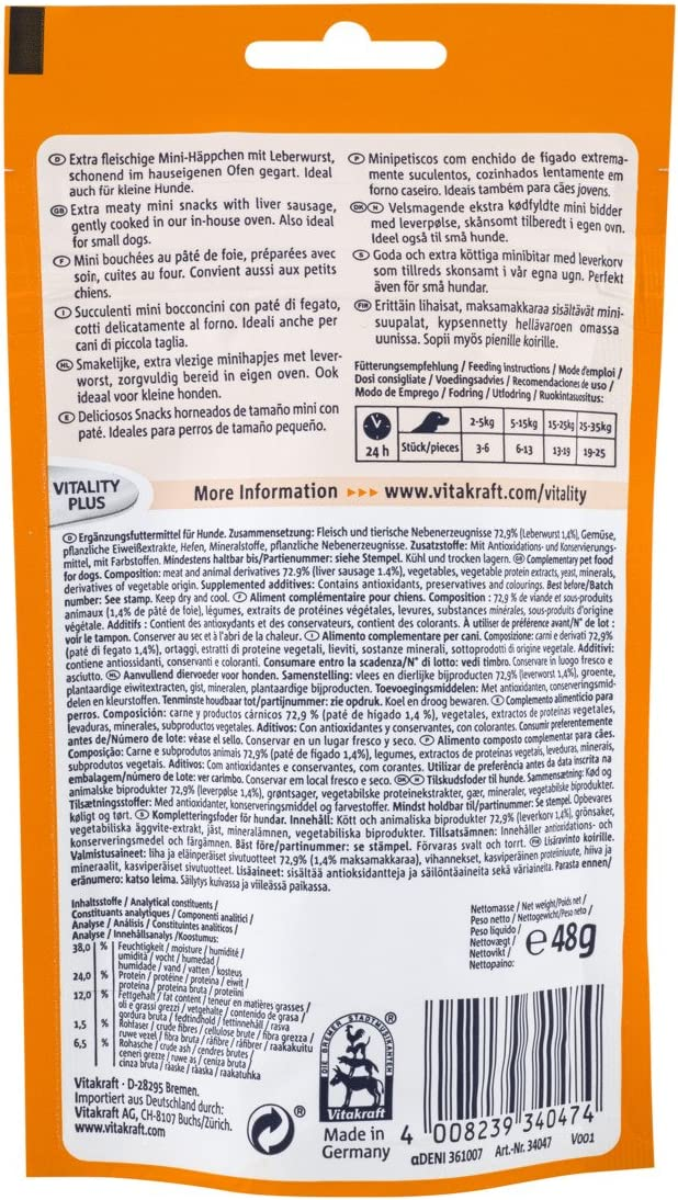 Vitakraft Treaties Mini Friandise pat/é de h/ígado para Perro 48/g/ /Lote de 8