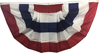 product image for Gettysburg Flag Works 3x6' Patriotic Red White Blue Pleated Fan Decorative Bunting, Sewn All-Weather Nylon, 5 Stripes, for Outdoor Decoration Use, Made in USA