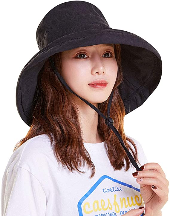 YEKEYI Foldable Beach UV Sun Protection Hats Wide Brim Bucket Hats for Women with Chin Strap Black