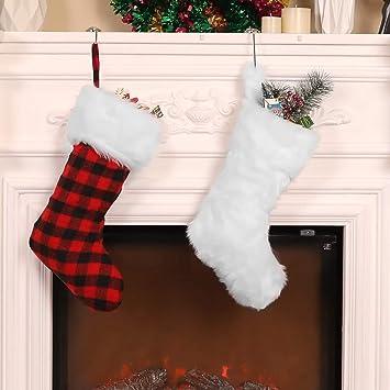 20 Pulgadas de Medias de Navidad Calcetines Colgantes de Chimenea Bolsa de Piel Falso Cómodo Blanco