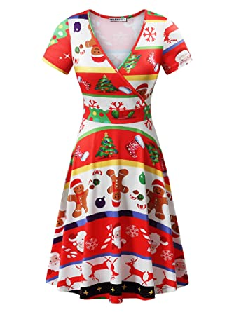 ec5c2cba4fa MSBASIC Christmas Dress Womens Short Sleeve Ugly Party Xmas Dress at ...