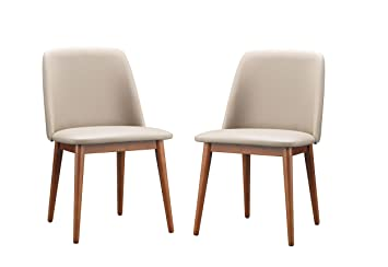 baxton studio lavin midcentury dark walnut wood and beige faux leather dining chairs