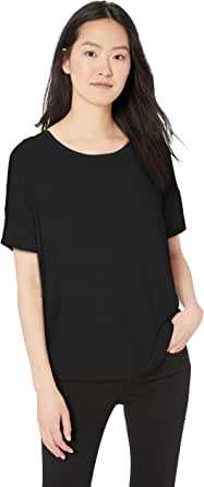 Daily Ritual Women's Jersey Rib Oversized-Fit Trim Drop-Shoulder Short-Sleeve Scoop-Neck Shirt