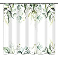 Tititex Watercolor Green Leaves Shower Curtain Sets, Aesthetic Eucalyptus Plant Bathroom Decorative 69 X 70 Inch…