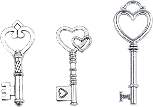 10 Heart Key Charms Antiqued Copper Keys Skeleton Keys Steampunk Key Pendant
