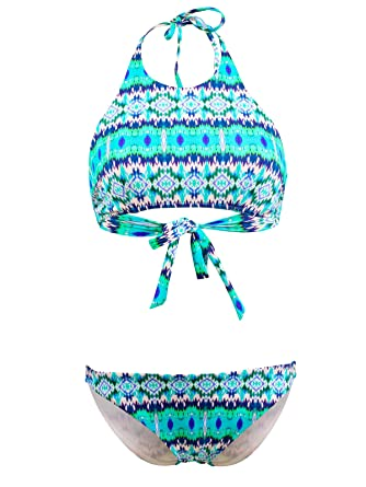 32c0d4fea5 Lolita Angels Maillot de Bain 2 Pièces Bandeau Rio Girly Palmsprings Bleu  Turquoise