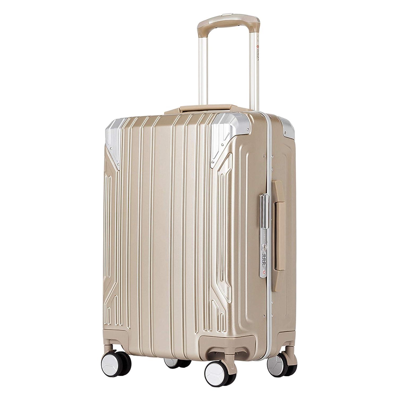 クロース(Kroeus)スーツケース キャリーケース PC100%ボディ高強度 TSAロック搭載 8輪 アルミフレーム S型機内持ち込み可 日本語取扱説明書 1年間保証付き B07NNB62LN チタンゴールド 2XL(96L/7泊以上)
