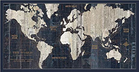 Amazoncom Old World Map Blue Wild Apple Continents Compass Rose - Old world map wall art in blue