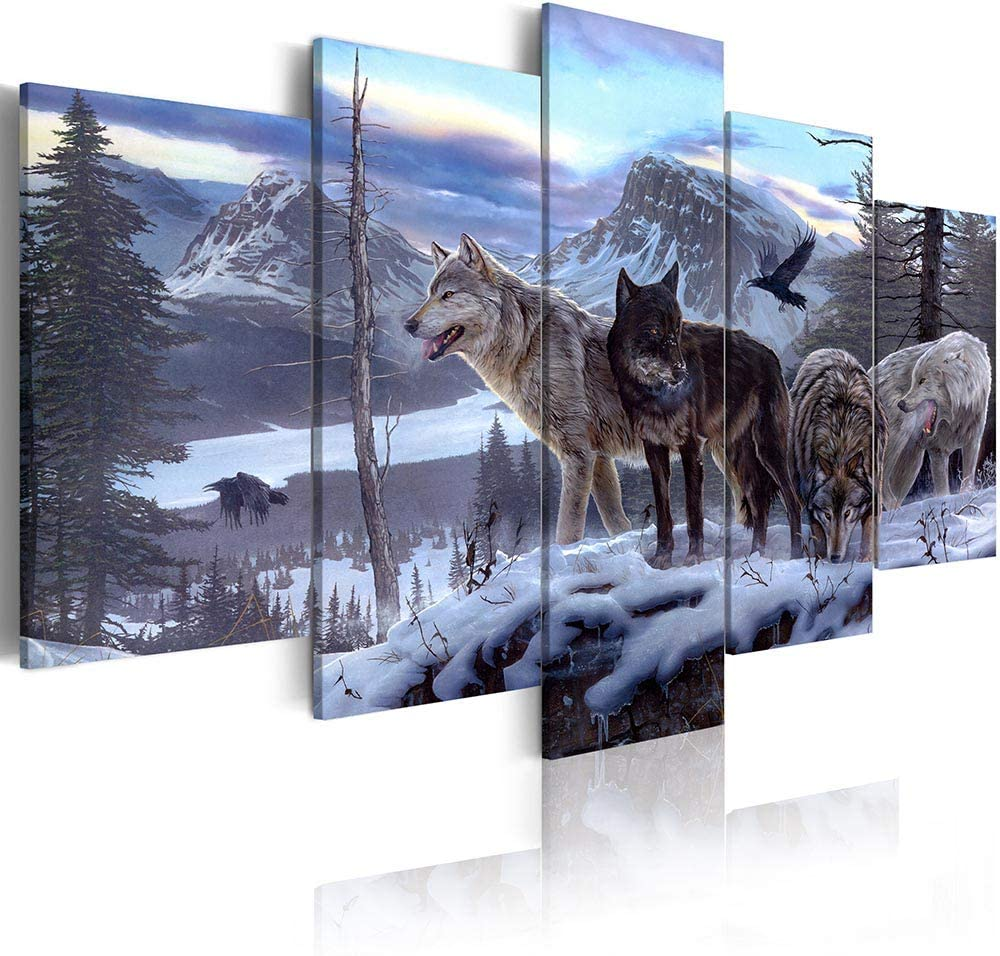 ArtHome520 Blue Winter Landscape Canvas Print Painting Animal Wolf Picture Home Decor Wall Art Living Dining Room Artwork Modern Framed 5 Panel (8''x12''x2+8''x16''x2+8''x20''x1)
