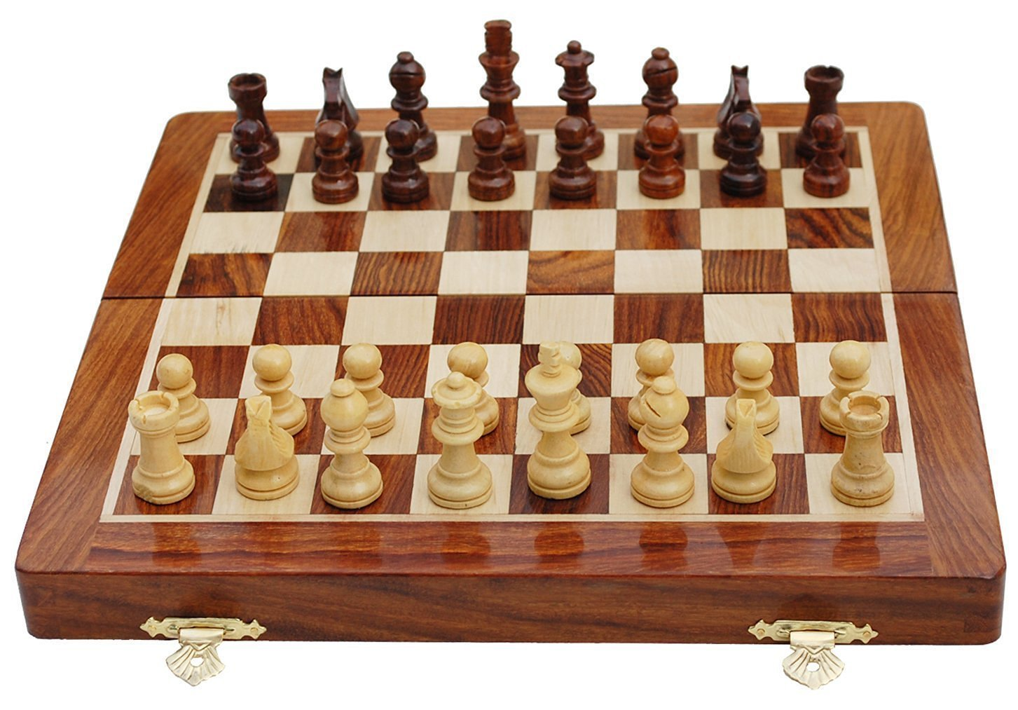 Best Chess Set Sale - BKRAFT4U 10 x 10'' Rosewood Travel Chess Game Board - Premium Handmade Wooden Foldable Magnetic Chess Game Board with Storage Slots, 10 inch. Gifts from India. by BKRAFT4U (Image #2)