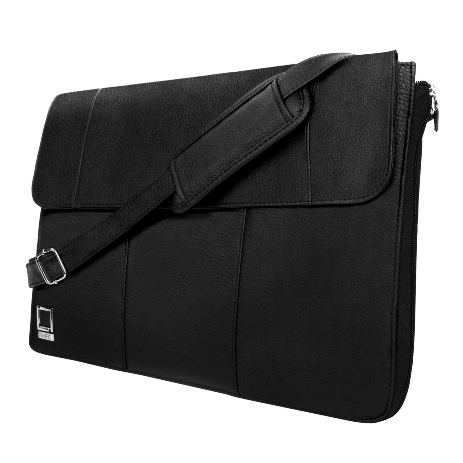 Lencca Axis 13 Inch Black Slim Texture Vegan Leather Laptop Crossbody Shoulder Bag for Apple iPad Pro / iPad Pro II 12.9''