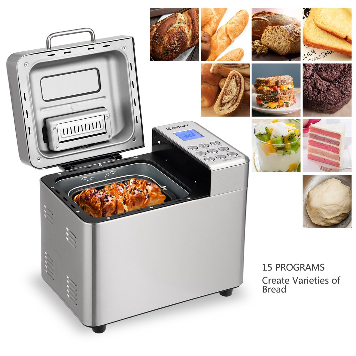 Automatic Bread Maker with 15 Programs,Safeplus 2LB Programmable Bread Machine with 15 Hours Delay Timer, 1 Hour Keep Warm by safeplus (Image #3)