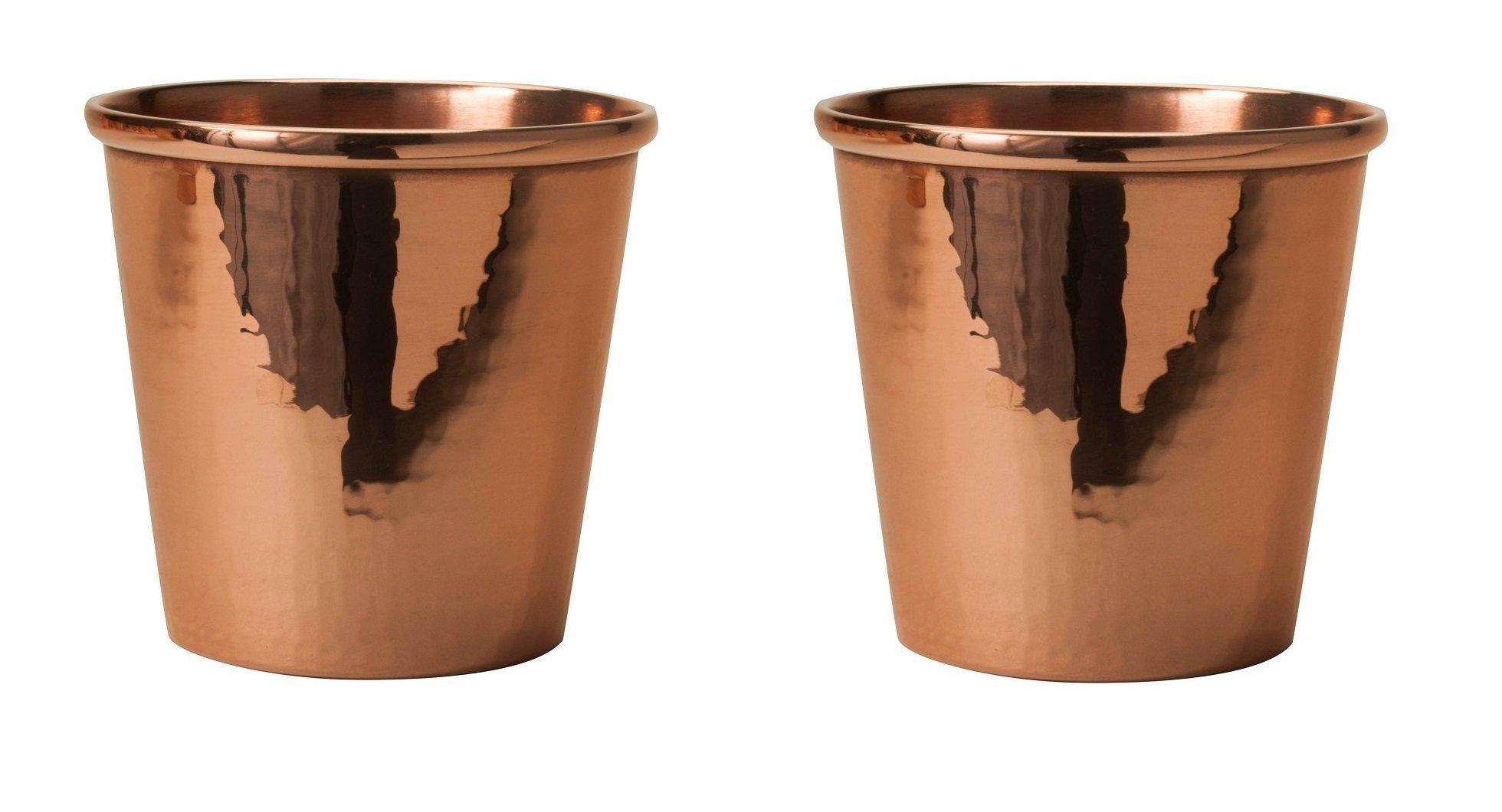 Sertodo Copper CC-18-2 Apa Cup, Hand Hammered 100% Pure Copper, 18 oz, Set of 2