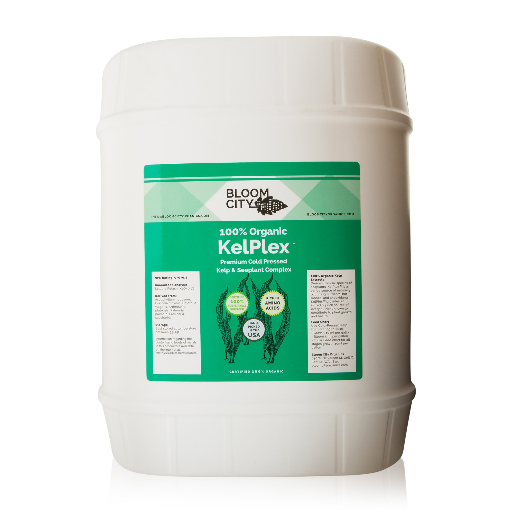 Organic Liquid Seaweed and Kelp Fertilizer Supplement by Bloom CIty, 5 Gallon (640 oz) Concentrated Makes 3750 Gallons by Bloom City
