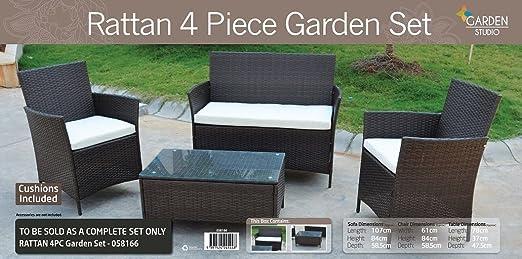 garden STUDIO Conjunto de muebles de jardín de mimbre, juego ...