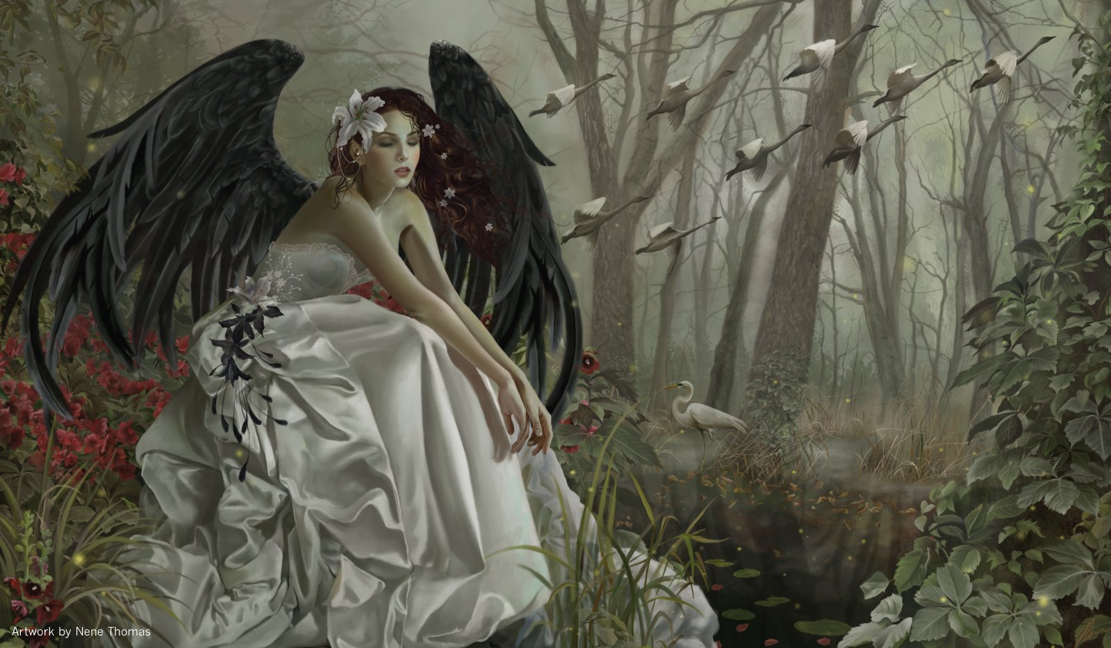 Artists of Magic Premium Playmats: SWANSONG AUTOGRAPHED BY THE ARTIST NENE THOMAS