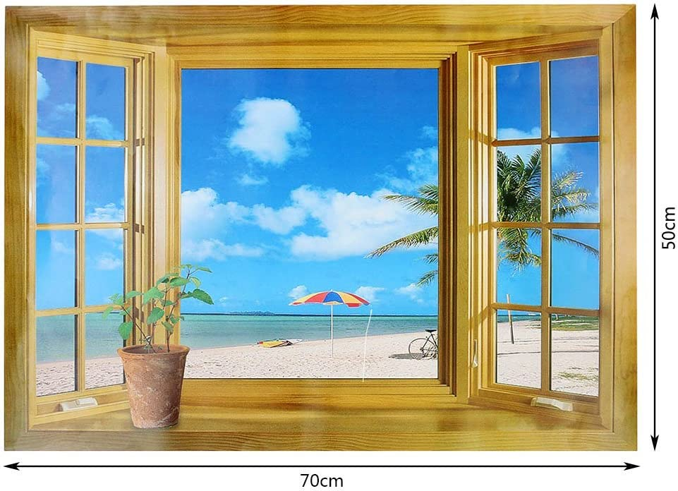 3D Beach Window View Removable Wall Decor Vinyl Decal Stickers Home Deco Art