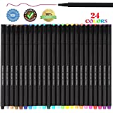 24 Pieces Fineliner Color Pens Set, 0.4 mm Fine Tip Colored Writing Point Drawing Markers Pen for Writing Journal Planner Note Coloring Art student, Black
