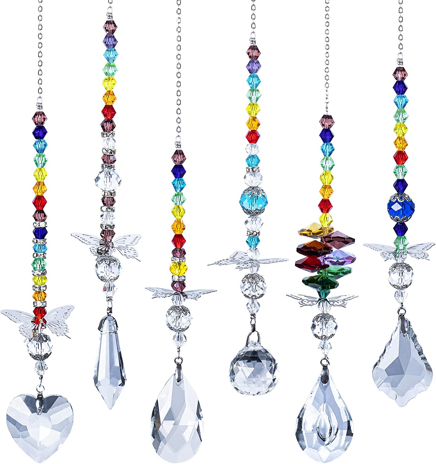 Crystals Ball Prisms Suncatcher for Window Rainbow Maker with Butterfly Hanging Ornament for Home,Office,Garden Decoration, Pack of 6