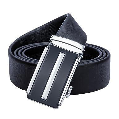 Formal Black Leather Mens Belts Solid Removable Ratchet Buckle Suit Jeans Belt