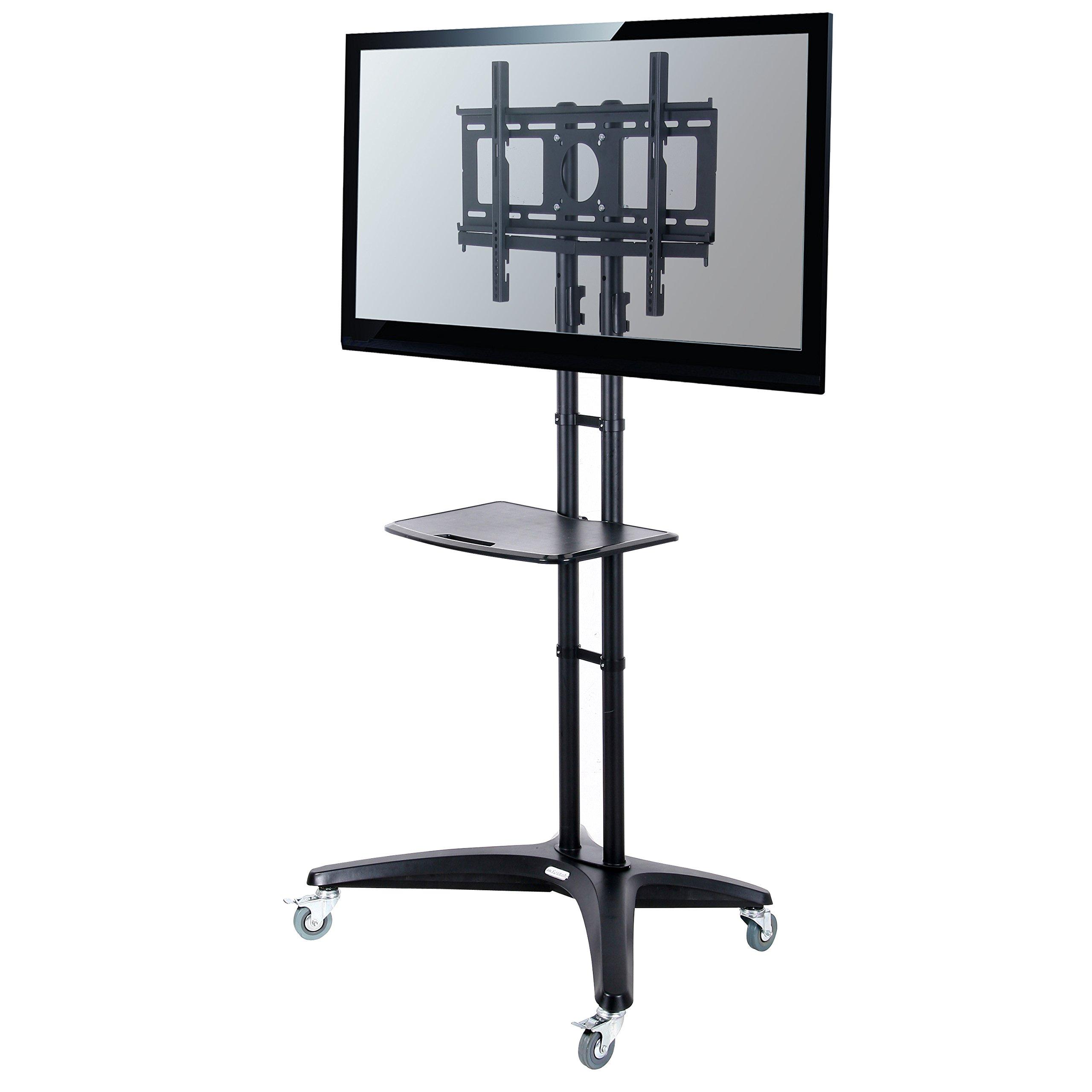 Fleximounts C03 Universal Rolling TV Cart for 32''-65'' Flat Screen Monitors w/ DVD Plastic Shelf & Wheels