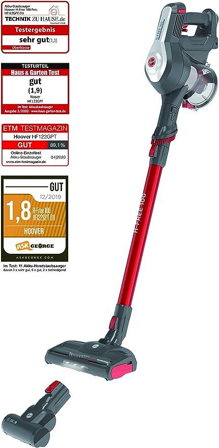 Hoover H-FREE 100 HF122GPT - Aspiradora escoba sin cable, Ciclónica, Cepillo pelo de mascota, Set completo accesorios integrado, Batería extraíble litio 22V, 40min, 0,9L, Luces LED, 2 Velocidades: Amazon.es: Hogar