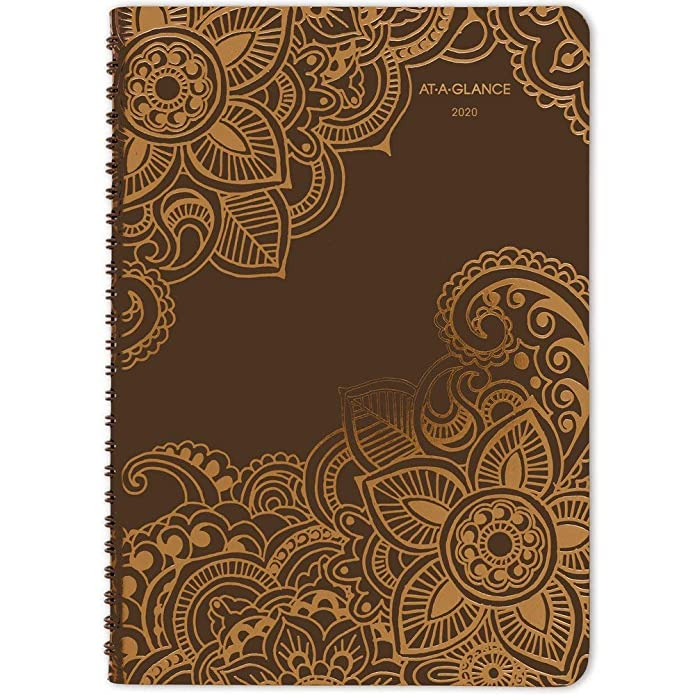 At-A-Glance Henna Premium Weekly/Monthly Planner - Yes - Weekly, Monthly, Daily - 1.1 Year - January till January - 1 Week, 1 Month Double Page Layout - 5 1/2u0022 x 8 1/2u0022 - Wire Bound - Assorted -...