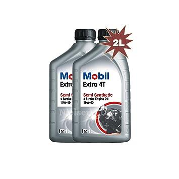 Mobil Extra 4T 10 W-40 Aceite de motor de motocicleta Semi sintético 142321 - 2 x 1 L=2L: Amazon.es: Coche y moto
