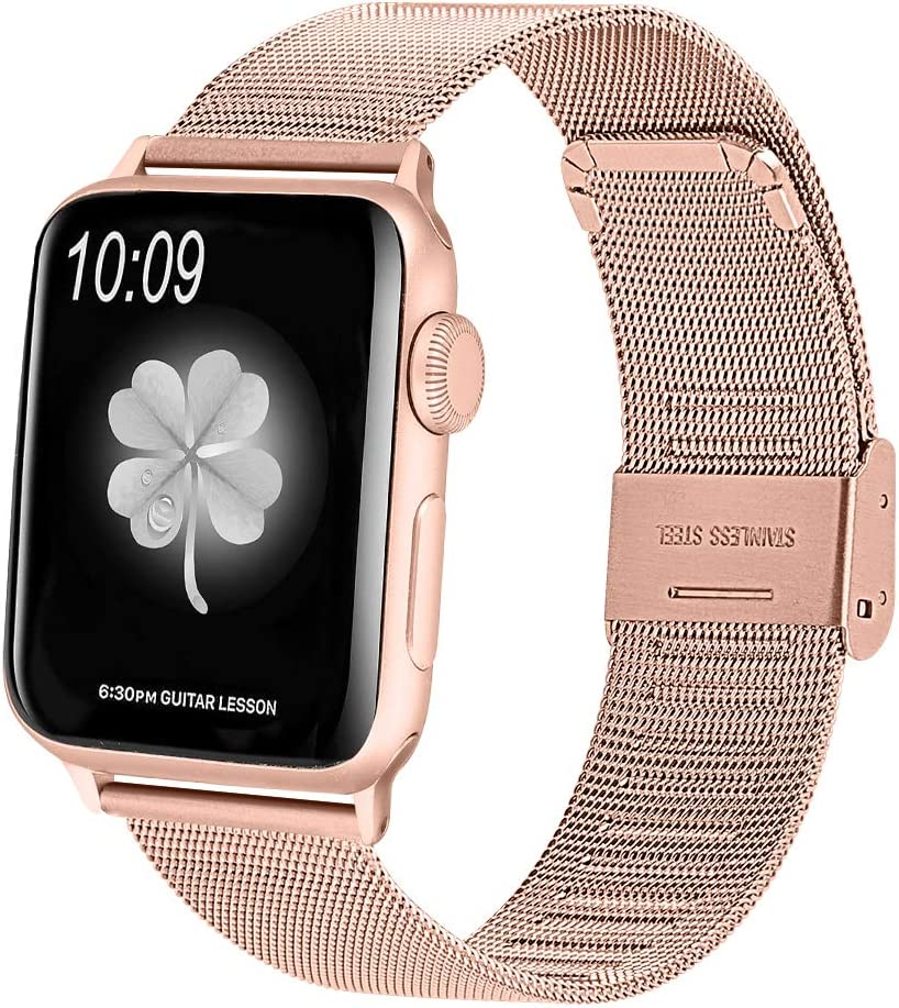 HAYUL Compatible with Apple Watch Band 38mm 40mm 42mm 44mm, Stainless Steel Mesh Loop Replacement Metal Bands Strap Wristband with Adjustable Buckle for iWatch Series 5/4/3/2/1