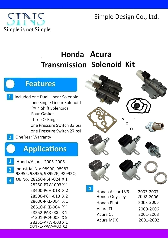 Amazon.com: Honda Acura Transmission Solenoid Pressure Switch Kit  28250-P6H-024 28250-P7W-003 28400-P6H-013 28500-P6H-013 28600-RKE-004  28610-RKE-004: ...