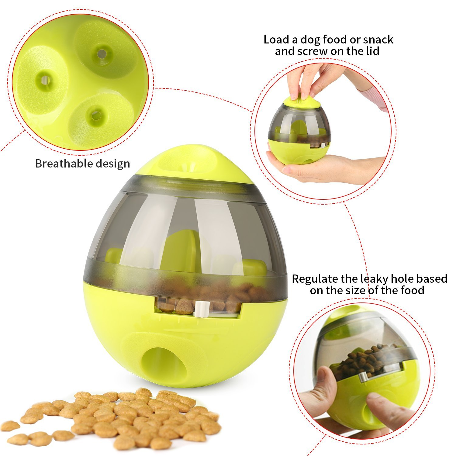 KAOSITONG Interactive Dog Toy,Interactive Food Dispensing Ball Dogs Cat Increases IQ & Mental Stimulation,Slows Down Eating,Promoting Active Healthy Feeding Small Medium Large Dogs,Easy to Clean by KAOSITONG (Image #4)